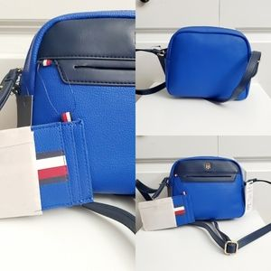 Tommy Hilfiger small blue crossbody w/pouch